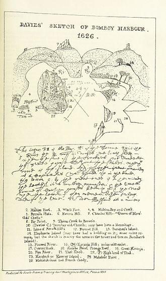 Davies' sketch of Bombay harbor 1626