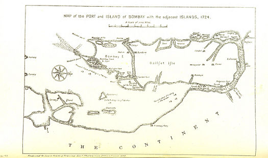 Map of Port and Island of Bombay with the adjacent islands 1724